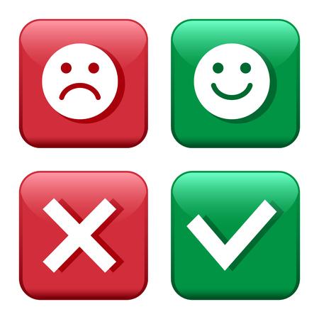 Ustaw przyciski czerwone i zielone ikony. Emotikony buźki pozytywne i negatywne. Potwierdzenie i odrzucenie. Tak i nie. Ilustracja wektorowa.