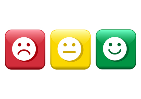 Set of buttons. Red, yellow, green smileys emoticons icon negative, neutral and positive, different mood. Vector illustration Çizim