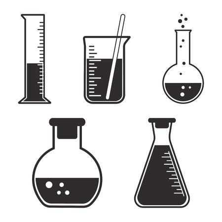 Black and white set chemical vessels. Vector illustration