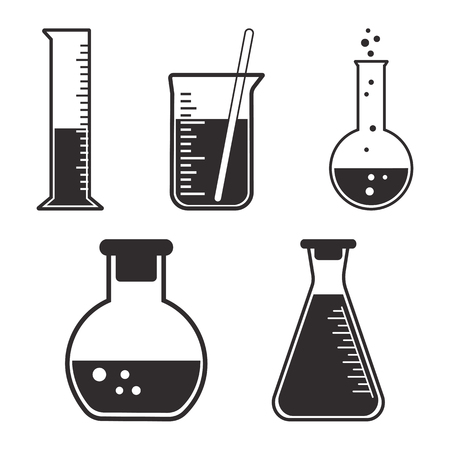 Black and white set chemical vessels. Vector illustration