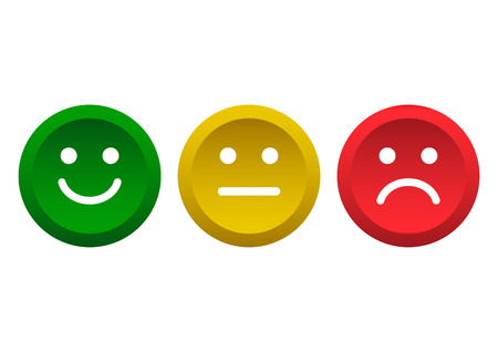 Set of buttons. Green, yellow, red smileys emoticons icon positive, neutral and negative, different mood. Vector illustration