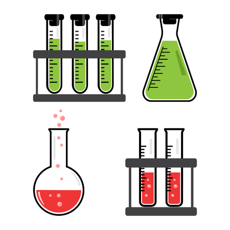 Colorful set chemical vessels and flasks with green, red liquid. Vector illustration Stock Illustratie