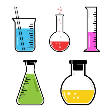 カラフルなセット化学容器。ベクトルイラスト