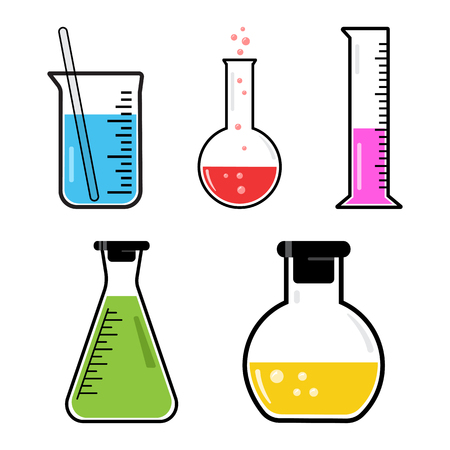 Colorful set chemical vessels. Vector illustration Иллюстрация