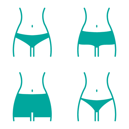 Turquoise set with various women panties, views front. Vector illustration Illustration