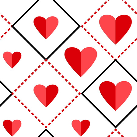 Geometric seamless pattern with squares and red hearts on white background. Vector illustration Illustration