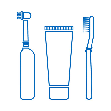 Blue set of electric toothbrush, toothpaste and toothbrush. Outline design. Vector illustration