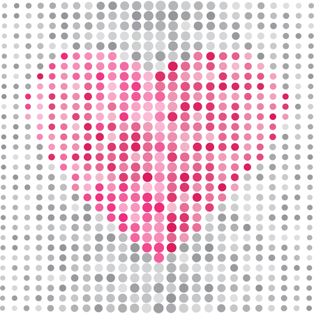 Gray abstract background with dots and pink heart. Vector illustration