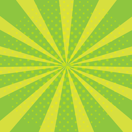 Pop art abstract background with bright green sunbeams and halftone dots. Illustration