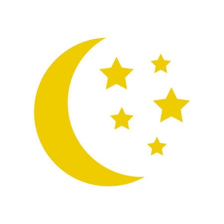 Moon and stars, yellow sleep icon. Vector illustration Çizim
