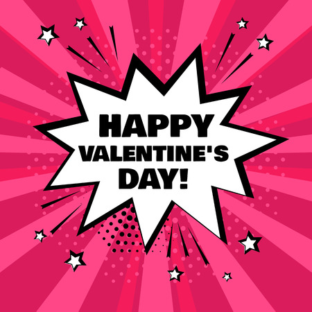 White comic bubble with Happy Valentine's Day word on pink background. Comic sound effects in pop art style. Vector illustration. Stock Illustratie