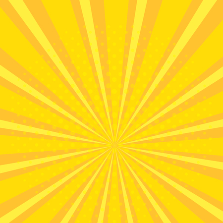 Pop art abstract background with bright yellow and orange sunbeams and halftone dots. Vector illustration