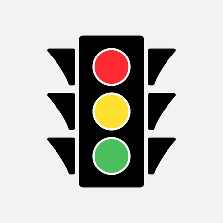 Colored traffic light icon vector illustration. Illustration