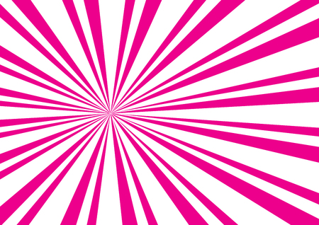 Pop art abstract pattern with bright pink sunbeams on white background.