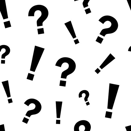Seamless pattern with black exclamation mark and question mark on white background. Illustration