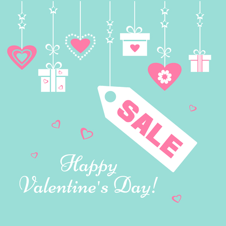 Festive postcard. Light green, pink and white gift boxes end hearts, price tag SALE and inscription Happy Valentines Day. Vector illustration