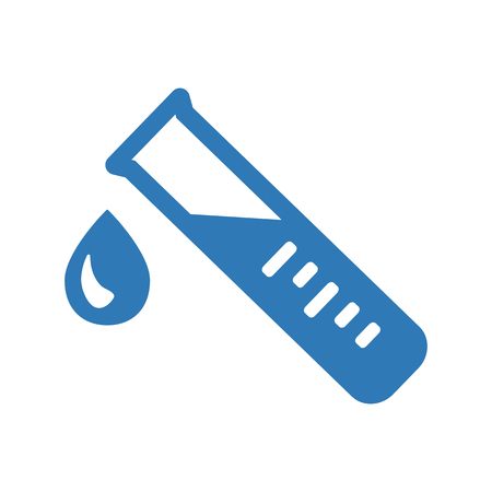 Test tube with drop. Blue medical and chemical icon. Vector illustration Illustration
