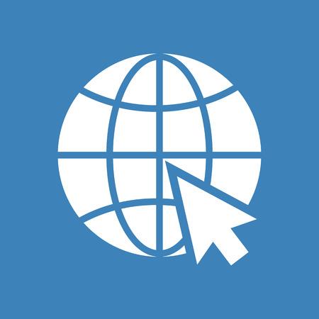Website icon. White silhouette on blue background. Vector illustration Illustration