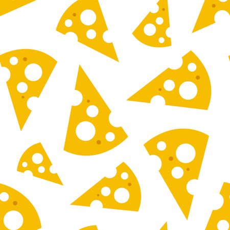 Seamless pattern with slices of cheese. Vector illustration
