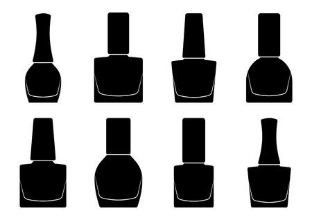 Set of nail polish bottle, black silhouette. Vector illustration