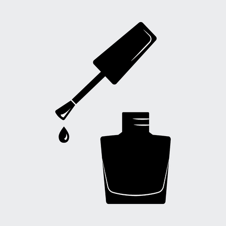 Nail polish, open bottle. Black silhouette. Vector illustration Çizim