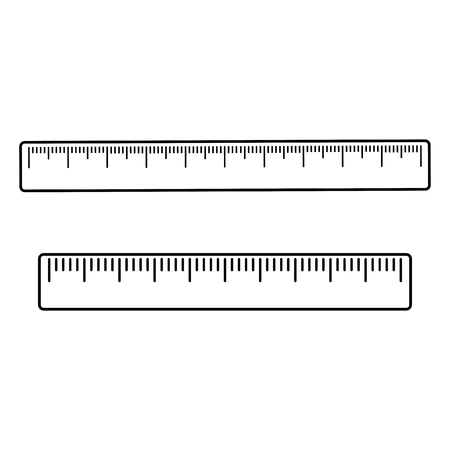 Set of rulers, outline design vector illustration.
