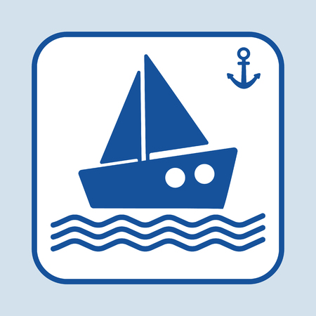Blue ship icon. Sign anchor. Marine theme. Dark blue silhouette. Vector illustration