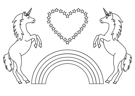 Couple unicorns with rainbow and heart with stars. Coloring page for children. Vector illustration.