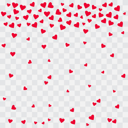 Background with red hearts. Falling hearts on transparent background. Vector illustration Illustration
