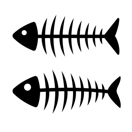 Fish bone icon, Set of black silhouette illustration.