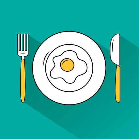 White and yellow set. Egg fried on plate, fork, knife on turquoise background. Dish and cutlery with shadow. Vector illustration