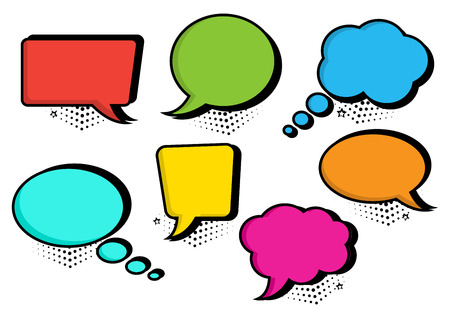 Colorful set of speech bubbles collection in pop art style. Blank empty speech bubbles for your text. Vector illustration Illustration
