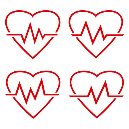 Set of red heart icon with sign heartbeat, outline design. Vector illustration Illustration