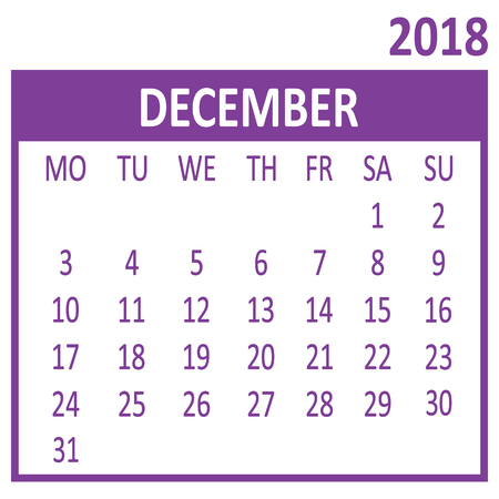 December. Twelfth page of set. Calendar 2018, template. Week starts from Monday. Vector illustration  イラスト・ベクター素材