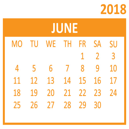 June. Sixth page of set. Calendar 2018, template. Week starts from Monday. Vector illustration