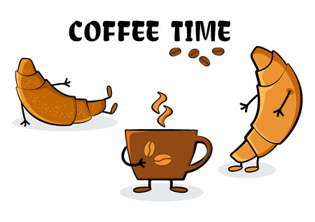 Coffee time. Croissants and cup hot coffee. Funny stylized characters. Vector illustration
