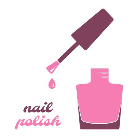 Nail polish, open bottle. Pink silhouette. Vector illustration