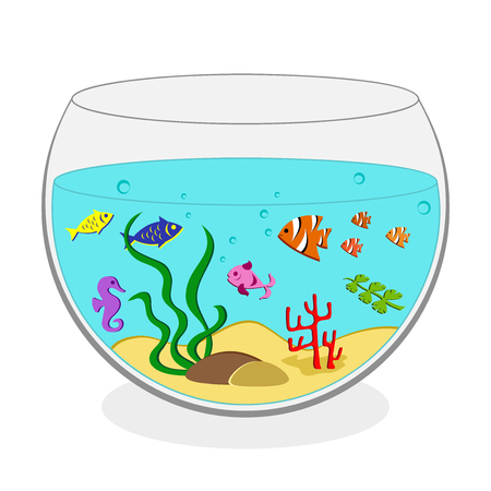 Round aquarium with seaweeds and colorful fish. Vector illustration