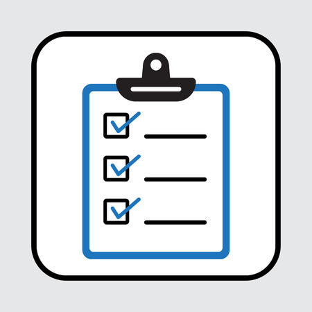 Clipboard or checklist icon. Blue and black colors.