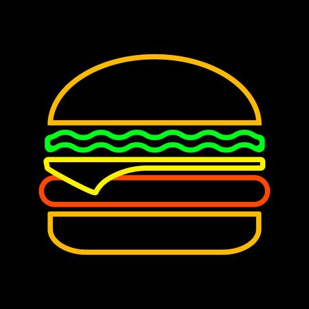 Cheeseburger on black background, outline design. Neon colors. Vector illustration