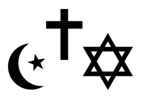 Three world religions symbols. Islam, Christianity and Judaism. Black silhouette. Vector illustration Çizim