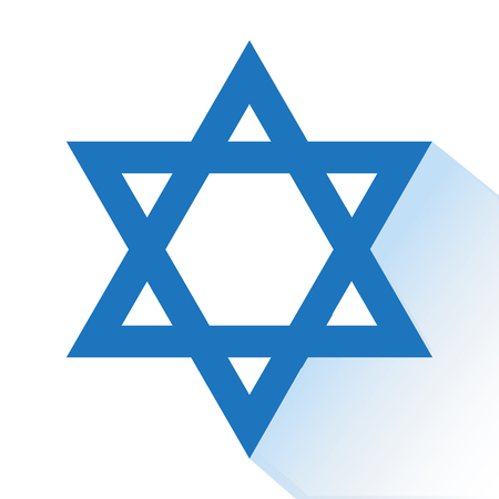 Blue star of David with shadow. Vector illustration