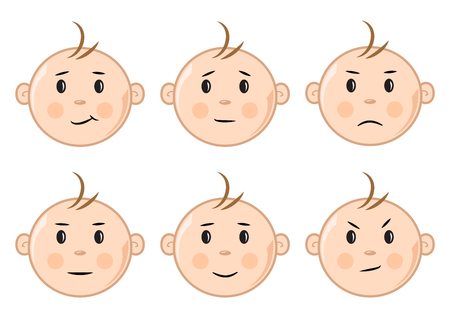 Set of faces baby with different emotions. Vector illustration
