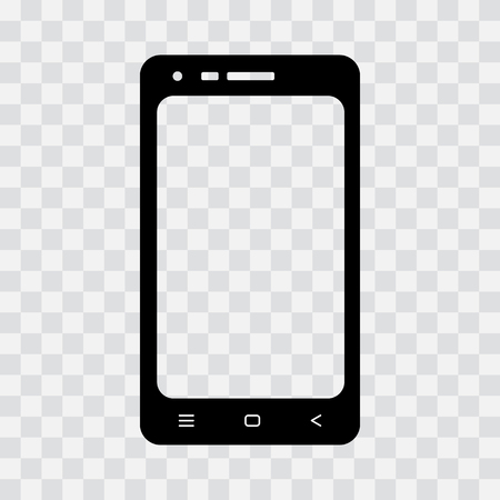 Black mobile phone icon on transparent background. Vector illustration Illustration