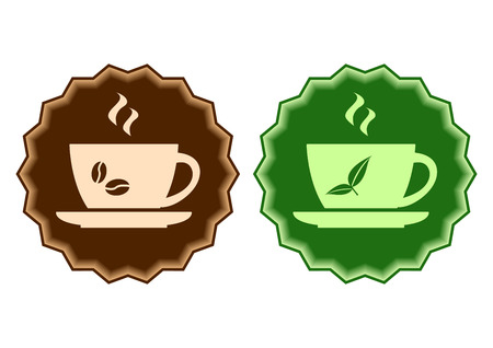 Coffee versus tea, brown and green labels with cup vector illustration.