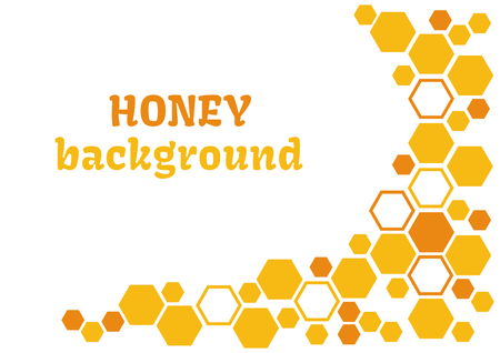 Honey abstract background with yellow and orange honeycomb vector illustration.
