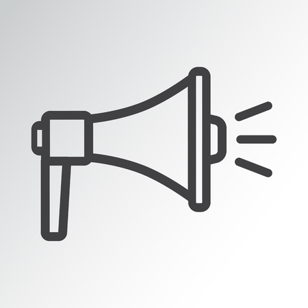 Megaphone icon, outline design. Vector illustration