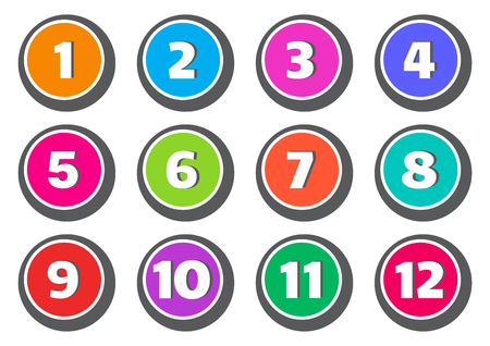 Colorful set of buttons with numbers from 1 to 12. Vector illustration