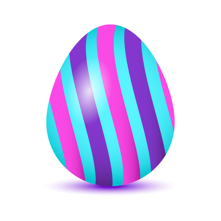 Colorful Easter egg with colored shadow, isolated on white background. Purple, azure and pink colors. Vector illustration