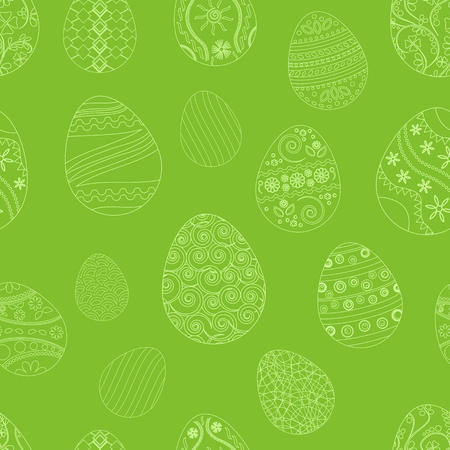 Festive seamless pattern with Easter eggs, white ornaments on green background. Vector illustration Illustration